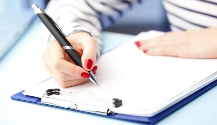 ручка и листок